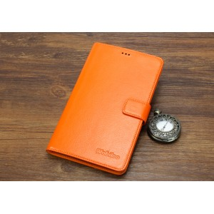 Кожаный чехол портмоне (нат. кожа) для Huawei MediaPad X2 Оранжевый