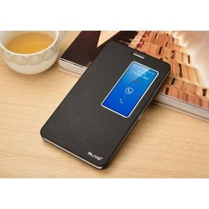 Чехол смарт флип подставка текстурный с окном вызова для Huawei MediaPad X2 Черный
