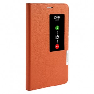 Кожаный чехол смарт флип подставка (нат. кожа) с окном вызова для Huawei MediaPad X2