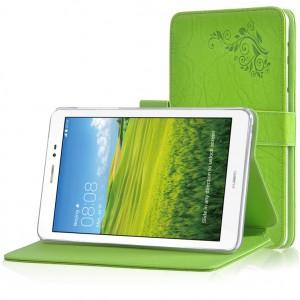 Чехол подставка на силиконовой основе с текстурой Узоры и магнитной застежкой для Huawei MediaPad M2 8.0 Зеленый