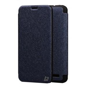 Текстурный чехол смарт флип на пластиковой основе для Asus Zenfone 2 Синий