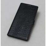 Кожаный чехол горизонтальная книжка (нат. кожа крокодила) с крепежной застежкой для Sony Xperia M2 Aqua