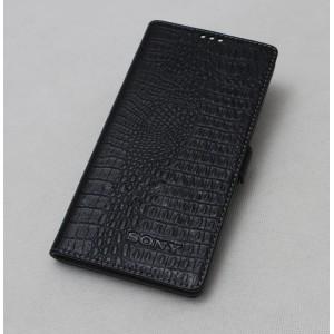 Кожаный чехол горизонтальная книжка (нат. кожа крокодила) с крепежной застежкой для Sony Xperia M2 Aqua Черный