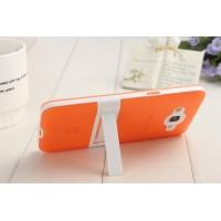 Двухкомпонентный силиконовый чехол с пластиковым каркасом-подставкой для Samsung Galaxy Grand Prime Оранжевый