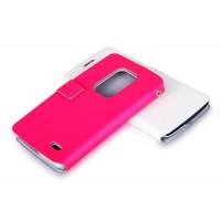 Чехол флип с отделением для карт для LG G Flex Розовый