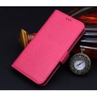 Кожаный чехол портмоне (нат. кожа крокодила) для Lenovo Vibe Shot Пурпурный