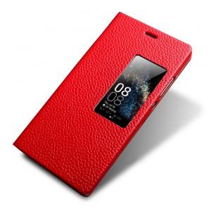 Кожаный чехол флип подставка (нат. кожа) с окном вызова для Huawei P8 Красный