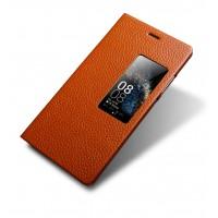 Кожаный чехол флип подставка (нат. кожа) с окном вызова для Huawei P8 Коричневый