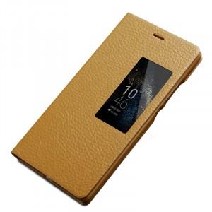 Кожаный чехол флип подставка (нат. кожа) с окном вызова для Huawei P8 Бежевый
