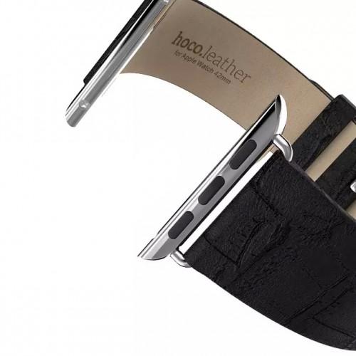 Кожаный крокодиловый ремешок (нат. кожа) с металлическим коннектором для Apple Watch 38мм