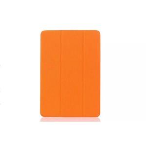 Текстурный чехол флип подставка сегментарный на пластиковой полупрозрачной онснове для Samsung Galaxy Tab E 9.6 Оранжевый