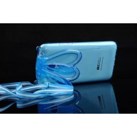 Силиконовый матовый полупрозрачный чехол с ушками и ремешком для Meizu M2 Note Синий