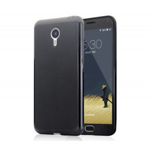 Силиконовый матовый непрозрачный чехол для Meizu M2 Note Черный