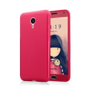 Силиконовый матовый непрозрачный чехол для Meizu M2 Note Красный