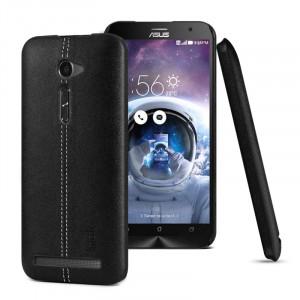 Пластиковый чехол накладка с кожаной поверхностью и прошивкой для ASUS Zenfone 2 5 Черный
