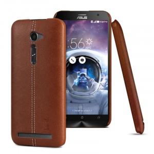 Пластиковый чехол накладка с кожаной поверхностью и прошивкой для ASUS Zenfone 2 5 Коричневый