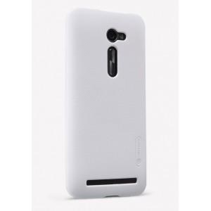 Пластиковый матовый нескользящий премиум чехол для Asus Zenfone 2 5 Белый