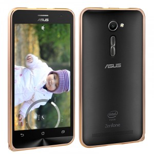 Металлический бампер с золотой окантовкой для Asus Zenfone 2 5