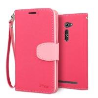Текстурный чехол портмоне подставка с магнитной защелкой и ремешком для Asus Zenfone 2 5 Пурпурный