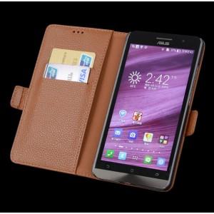 Кожаный чехол портмоне подставка (нат. кожа) для Asus Zenfone 2 5