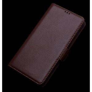 Кожаный чехол портмоне подставка (нат. кожа) для Asus Zenfone 2 5 Коричневый