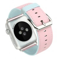 Кожаный двухцветный прошитый ремешок с металлической пряжкой без металлического коннектора для Apple Watch 38mm (выбор цвета по внешней стороне)