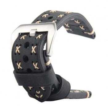 Кожаный винтажный ремешок с прошивкой ручной работы, металлической пряжкой и металлическим коннектором для Apple Watch 42mm