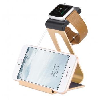 Металлическая мультифункциональная подставка с пластиковой подложкой для зарядки Apple Watch