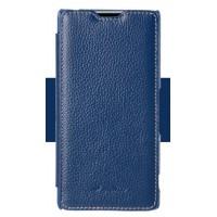 Кожаный чехол флип (нат. кожа) с внутренним карманом для Sony Xperia Z3+ Синий