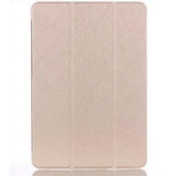 Текстурный чехол флип подставка сегментарный на пластиковой полупрозрачной основе для Samsung Galaxy Tab A 9.7 Бежевый