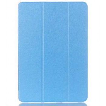 Текстурный чехол флип подставка сегментарный на пластиковой полупрозрачной основе для Samsung Galaxy Tab A 9.7 Голубой