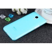 Силиконовый матовый полупрозрачный чехол для Meizu M1 Note Голубой