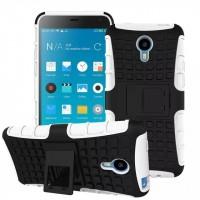 Силиконовый чехол экстрим защита со встроенной ножкой-подставкой для Meizu M1 Note Белый