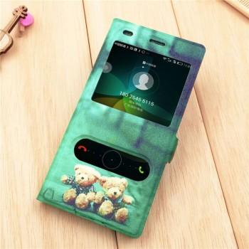 Чехол флип подставка с полноповерхностным принтом на пластиковой основе с окном вызова и свайпом  для Huawei P8 Lite