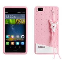 Силиконовый дизайнерский фигурный чехол с шнурком для Huawei P8 Lite Розовый