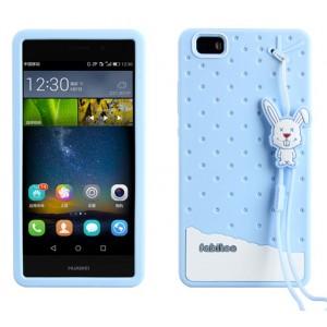 Силиконовый дизайнерский фигурный чехол с шнурком для Huawei P8 Lite Голубой