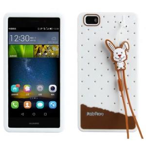 Силиконовый дизайнерский фигурный чехол с шнурком для Huawei P8 Lite Белый