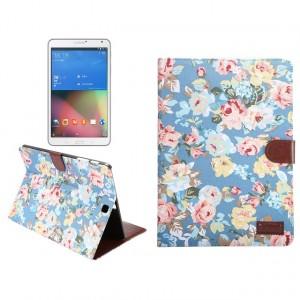 Текстурный чехол подставка с внутренними отсеками для Samsung Galaxy Tab S2 9.7 Голубой