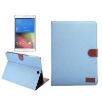 Джинсовый чехол подставка с внутренними отсеками и защелкой для Samsung Galaxy Tab S2 9.7 Голубой