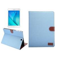 Джинсовый чехол подставка с внутренними отсеками и защелкой для Samsung Galaxy Tab S2 8.0 Голубой