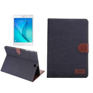 Джинсовый чехол подставка с внутренними отсеками и защелкой для Samsung Galaxy Tab S2 8.0
