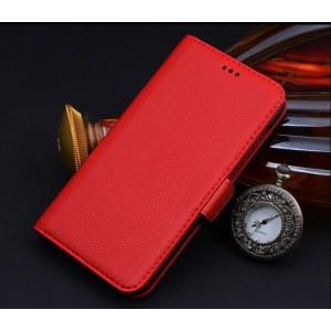 Кожаный чехол горизонтальная книжка (нат. кожа) с крепежной застежкой для Philips S396