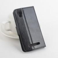 Чехол портмоне подставка вощеной текстуры на клеевой основе с магнитной застежкой для Explay Tornado Черный