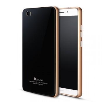 Двухкомпонентный чехол с металлическим бампером и поликарбонатной накладкой с закаленным стеклом для Huawei P8 Lite