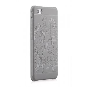 Силиконовый текстурный софт-тач премиум чехол для Huawei P8 Lite Серый