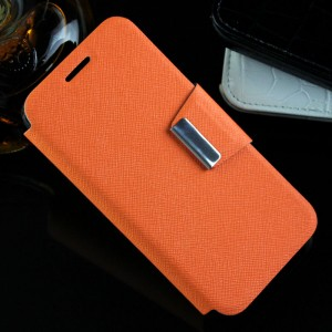 Текстурный чехол флип подставка с магнитной застежкой для Alcatel One Touch Pixi 3 (4.5) Оранжевый
