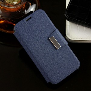 Текстурный чехол флип подставка на силиконовой основе с дизайнерской магнитной застежкой для Alcatel One Touch Pixi 3 (4.0) Синий