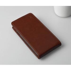 Чехол вертикальная книжка на пластиковой основе с магнитной застежкой для Explay Blaze Коричневый