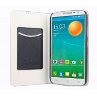 Чехол флип подставка на пластиковой основе с внутренним карманом для Alcatel One Touch Pop 2 (5)