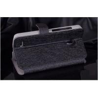 Текстурный чехол флип подставка на пластиковой основе с магнитной застежкой и внутренними карманами для Alcatel One Touch Pop 2 (5) Черный
